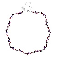 Jon Richard - Silver shimmer reds statement necklace embellished with Swarovski crystals