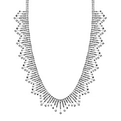 Jon Richard - Silver crystal diamante stick statement necklace