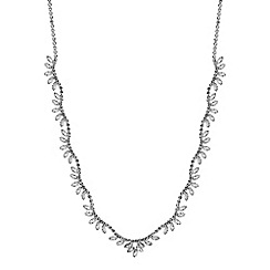 Jon Richard - Silver crystal diamante wave statement necklace
