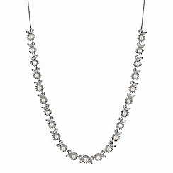 Alan Hannah Devoted - Designer silver crystal and pearl flower necklace