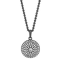 Jon Richard - Grey crystal pave disc long necklace