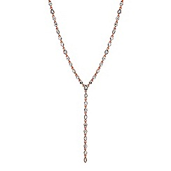 Jon Richard - Rose gold crystal droplet lariat necklace