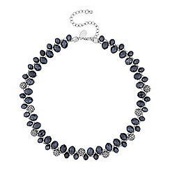 Jon Richard - Silver blue bead and pave orb twist necklace