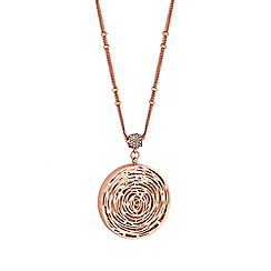 Jon Richard - Rose gold plated clear crystal pave shaker long pendant necklace