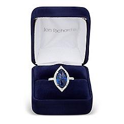 Jon Richard - Blue cubic zirconia navette surround ring