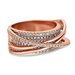 Jon Richard - Rose gold pave swirl ring