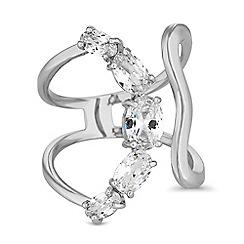 Jon Richard - Silver crystal curved ring