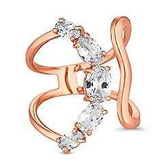 Jon Richard - Rose gold crystal curved ring