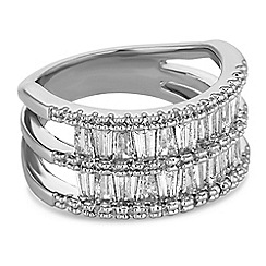 Jon Richard - Silver crystal double row ring