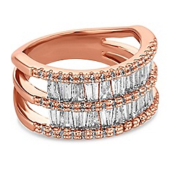 Jon Richard - Rose gold crystal double row ring