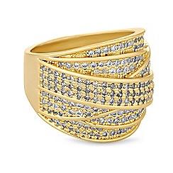 Jon Richard - Gold crystal cross over ring