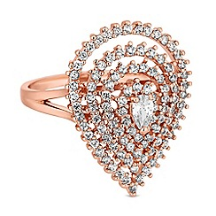 Jon Richard - Rose gold cubic zirconia peardrop ring