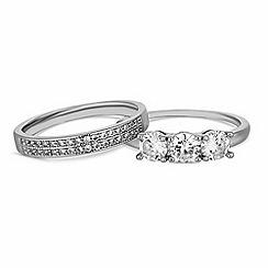 Jon Richard - Silver cubic zirconia stacking ring set
