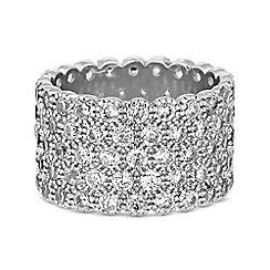 Jon Richard - Silver cubic zirconia chunky band ring