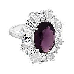 Jon Richard - Silver purple cubic zirconia statement ring
