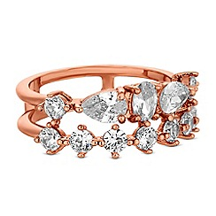 Jon Richard - Rose gold multi cubic zirconia double row ring