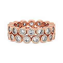 Jon Richard - Rose gold cubic zirconia double row ring