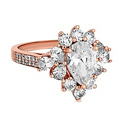 Jon Richard - Rose gold cubic zirconia cluster ring
