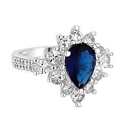 Jon Richard - Silver blue cubic zirconia cluster ring