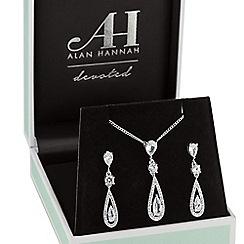 Alan Hannah Devoted - Silver elongated peardrop jewellery set