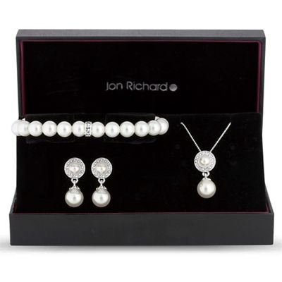 Jon Richard   Pearl Disc Jewellery Set by Jon Richard