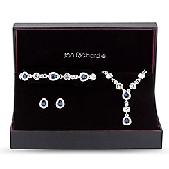 Jon Richard - Blue crystal peardrop jewellery set