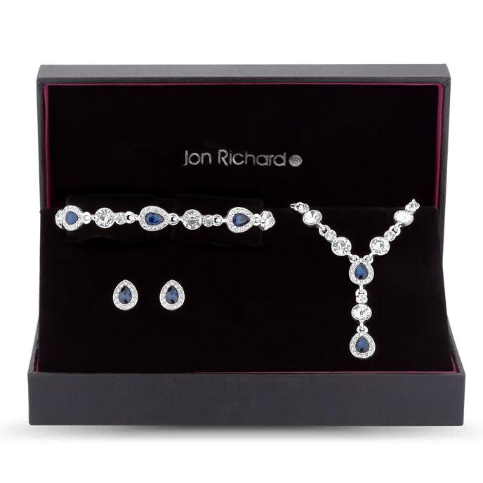 Jon Richard - Blue crystal peardrop jewellery set
