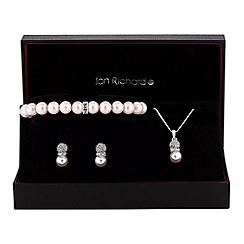 Jon Richard - Pearl pave trio jewellery set
