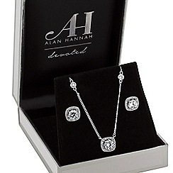 Alan Hannah Devoted - Designer square halo jewellery set in a gift box