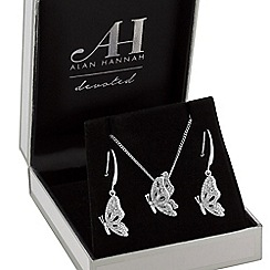 Alan Hannah Devoted - Designer pave butterfly jewellery set in a gift box