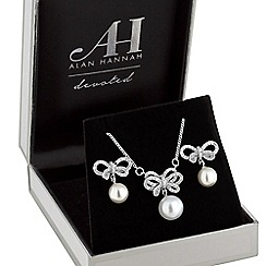 Alan Hannah Devoted - Designer crystal bow and pearl jewellery set