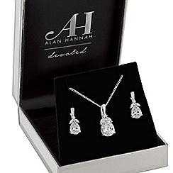 Alan Hannah Devoted - Designer silver cubic zirconia flower jewellery set