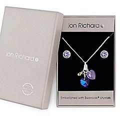 Jon Richard - Silver purple crystal heart charm jewellery set embellished with Swarovski crystals