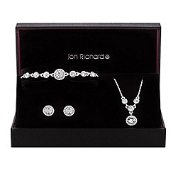 Jon Richard - Silver crystal halo jewellery set in a gift box