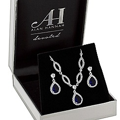 Jon Richard - Silver plated clear crystal sapphire pave pear drop matching sets