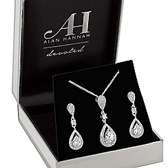 Alan Hannah Devoted - Silver plated clear crystal pave 3 tier pear drop matching set