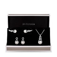 Jon Richard - Silver plated clear crystal infinity matching set