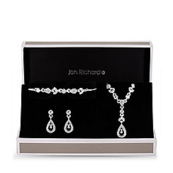 Jon Richard - Silver plated clear crystal floral matching set