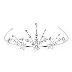 Jon Richard - Silver crystal flower statement tiara
