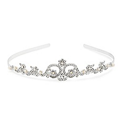Alan Hannah Devoted - Crystal flower and pearl embellished tiara