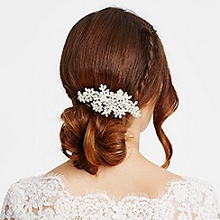 Alan Hannah Devoted - Pave crystal flower and multi pearl comb