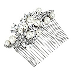 Jon Richard - Charlotte navette stone and crystal swirl multi pearl comb