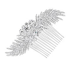 Alan Hannah Devoted - Designer crystal leaf spray hair comb