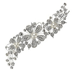 Jon Richard - Pave crystal pearl flower double side comb