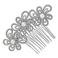 Jon Richard - Crystal embellished triple flower hair comb