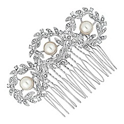 Jon Richard - Pearl encased crystal wreath hair comb