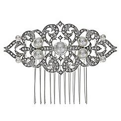 Jon Richard - Vintage pearl crystal scroll comb