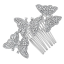 Jon Richard - Crystal embellished triple butterfly hair comb