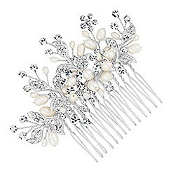 Alan Hannah Devoted - Designer crystal leaf and freshwater pearl spray comb