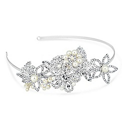 Alan Hannah Devoted - Designer pearl encased leaf and flower tiara